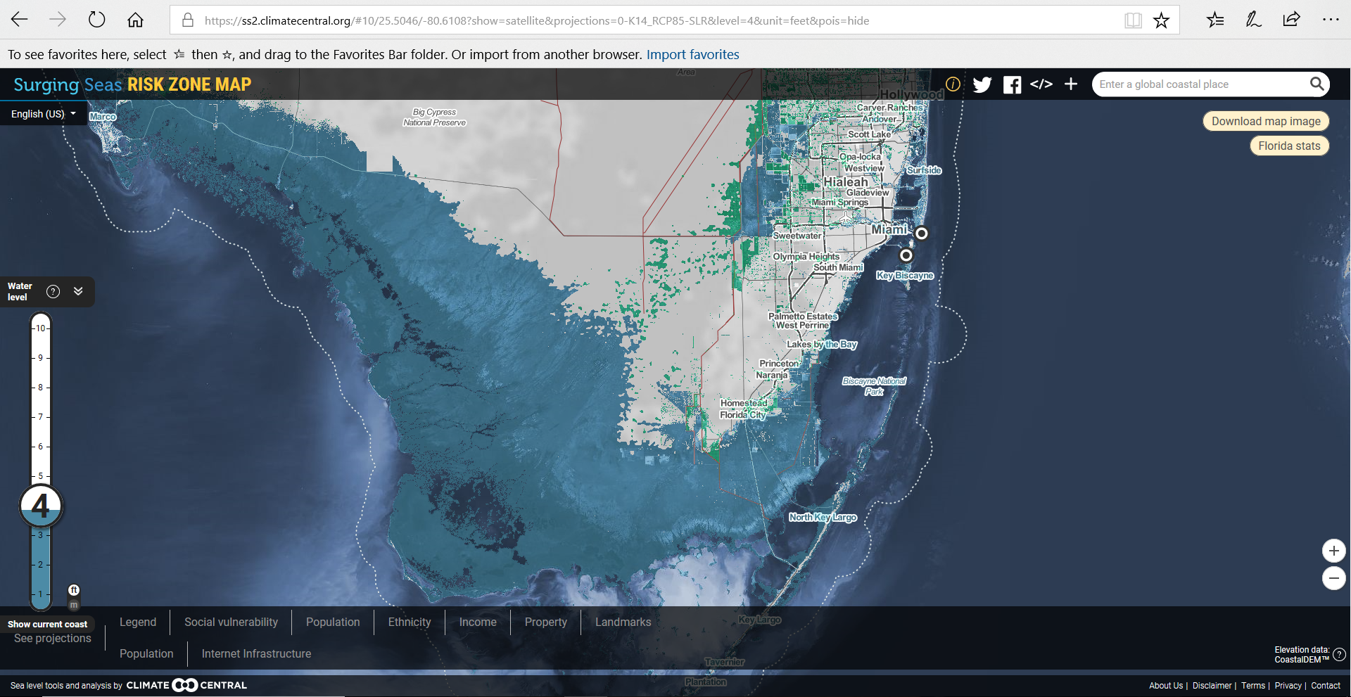 Sea Level Inundation in Florida